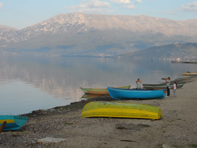 Strand in Pogradec am Ohrid See